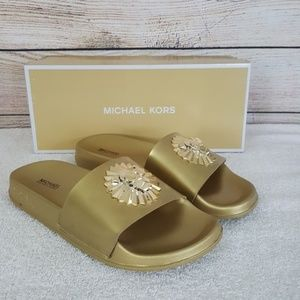 New Michael Kors Metallic Rory Slide